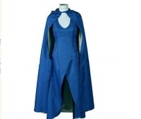 xxl clothes - Game of Thrones Daenerys Targaryen Khaleesi Cosplay Costumes blue dress cloak cape Mother of Dragons Halloween Party Cosplay Clothes New
