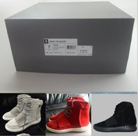 Wholesale Yeezy Boost Kanye West Authentic Leather Yeezy Boost Ankle Boots Mid Cut Men s Sport Running Shoes With Box US Size