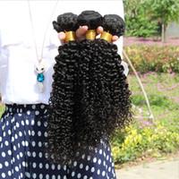 COB virgin hair bulk - 100 Brazilian Peruvian Malaysian Indian Human Hair bundles Extensions Double Weft Kinky Curly Unprocessed Virgin Hair Weaves Mix length