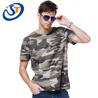 Cheap Wholesale-2015 Summer New Camouflage Mens T shirt Men's Sport Shirts For Men T-shirt Fitness Tops Camo Quick Dry Surfing Tops 3 Colors