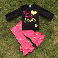 ruffle pants - baby clothes girls Yall need Jesus sets girls gold polka dot pant sets girls hot pink ruffle set with necklace and headband