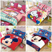 Wholesale new Hot sale hello Kitty Cartoon bedding set queen size striped quilt cover set with red pattern bedsheet for kids