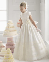 beautiful collars - 2015 Beautiful Lovely Flower Girls Dresses A Line Satin Lace High Collar Sash Flowers Ruffle Short Sleeve Ankle Length Wedding Birthday Day