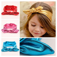 assorted turbans - 2015 New Hot Baby Girls Kid Toddler Assorted Metal Colors Elastic Hair Band Rabbit Bow Ear Turban Knot Headband