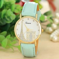 Wholesale 2015 Arrival geneva women ladies fashion leather PU watch with Eiffel Tower House Dial Wrist quartz watches for women