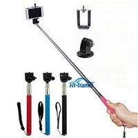 Wholesale Extendable Self Portrait Selfie Stick Handheld Monopod Wireless Bluetooth Remote Shutter Control for IOS Android Phones