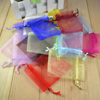 Wholesale free ship cm wedding favor yarn bag candy bags wedding gift bag beads organza jewelry gift pouch Bags pure color