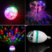 Wholesale E27 RGB LED Lamp Crystal Magic Ball Light Rotating DJ Party Bar Stage Full Color G692