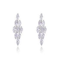 big rice - White rice Charming Gold Plating Alloy Big Crystal Rhinestone Crown Set Ear Drop Earrings Gift For Women Girls Jewelry