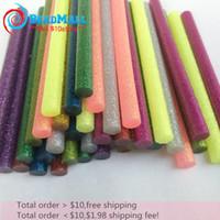 Wholesale Min order MIX Color x100mm Stick Glue with flashlight powder Glitter hot melt glue stick Environmental