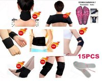 Wholesale 15pcs set Tourmaline Magnetic Therapy Self Heating Neck Shoulder Wrist Elbow Belt Kneepad Ankle Insole Brace Support keep warm