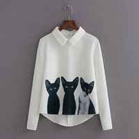 Wholesale Women s Fashion Blouse Three Cats Printing Pullover Shirt Lapel Neck Long Sleeve Top Casual Girls Blusas Korean Style White Blouses