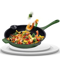 Wholesale Creative Army Green Cast Iron Fry Pans Egg Steak Paella Frying Pan Uncoated Smokeless Non Stick Healthy Cooking Tools Enjoyable