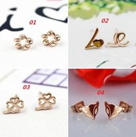 Wholesale New sterling silver stud earrings rose gold plated fox love Four Leaf Clover stud earrings hypo allergenic women jewelry