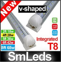 Wholesale V Shaped ft Led Tube Light T8 Integrated Led Tubes Double Sides SMD2835 Led Fluorescent Lights AC85 V New