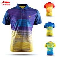badminton shirt design - Men Li Ning Badminton Polo Shirts Quick Dry Couple models Men And Women Stripe design Tennis Sport Polo Lining AAYK297