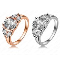 Wholesale Hot Selling Fashion Noble K Rose Gold Platinum Plated And Pave Austrian Crystals Engagement Rings Wedding Jewelry For Women