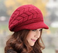 Wholesale AAA Quality EMS Autumn and Winter Girl Fashion Fur Ball Hat Women Warm Wool Knitted Caps Mix Color