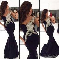 Cheap black one shoulder mermaid evening dresses sleeveless sexy floor length long prom dresses with peacock applique backless 2014 oscar