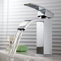 bathroom vanity - KES L3109A L3109A Single Handle Waterfall Bathroom Vanity Sink Faucet with Extra Large Rectangular Spout Chrome Nickle