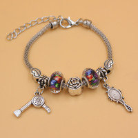jewelry mirror - New Arrival Charm Bracelet European Bead PDR Mirror Charm Hair Stylist Hair Dryer Charm Bracelet Jewelry