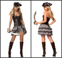 Wholesale Halloween Costumes Cheap Prices For Women Pirate Captain Christmas Gift Cosplay Sexy Fancy Dress A Set