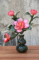 Wholesale Red peony on the bottle gourd Miniascape Chinese traditional handicrafts Old Beijing court bonsai