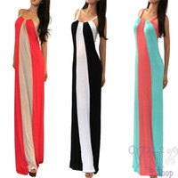 strapless maxi dress - Hot Women Mixed colors Dress Splice Leakage shoulder Bra Mopping the floor Long section Harness dress Beach dresses A671