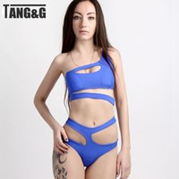 Wholesale 2015 Sexy Women Bikinis Set Bandage Oblique Shoulder High Waist Swimsuit Hollow Cut Out Brazilian Triangle Beach Swimwear T1009