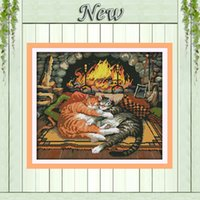 animal crossing carpet - Two Sleeping cats On the carpet Counted Print on canvas DMC CT CT Cross Stitch kit Needlework Set all Embroider Animal Style