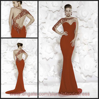 Wholesale Red Chiffon Mermaid Prom Dress Sheer Jewel Neck Sweetheart One Shoulder Crystal Long Sleeve Illusion Backless Evening Gown TE92505
