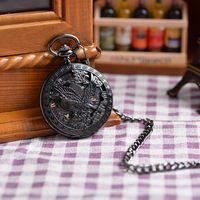 antique watch chains - Vine Alloy Steampunk Black Eagle Necklace Pendant Chain relogio de bolso Pocket Watch Antique Roma Number Mechanical Watch