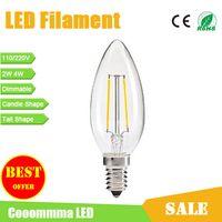 Wholesale LED Filament Bulbs E14 Candle Lights W W Dimmable Bulbs E12 E14 Base Type Candle Tail Shape Archaize Lighting