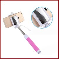 Wholesale 2015 folding mirror Self pole wired Selfie Stick Monopod for Iphone Plus s Wired Palo Selfie For SAMSUNG Android IOS Groove Camera
