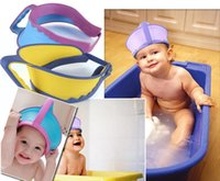 Wholesale 300PCS LJJH575 Children Bathing Baby Bath Tool Baby Bathing Supplies Eye protection Kids Hats Bathing Caps Baby shampoo cap