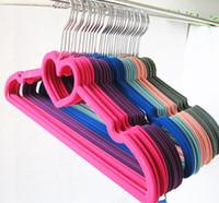 velvet hangers - Notches Velvet Flocked Suit Hanger Clothes Hanger with Loving Heart T shirt hanger tops hanger dress hanger coat hanger