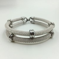 artificial skins - New Arrivial Popular Sale North Skull Bracelet In Silver With Artificial Stingray Skin Leather Bracelet
