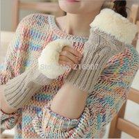 Wholesale Hot Fashion Gifts CM Winter Manual Knitting Women Arm Sleeve Woolen Arm Sleeve Warm Cuff Half finger Gloves Arm Warmers
