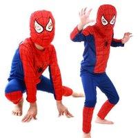 Wholesale Halloween Children s clothing Kids Halloween mascot spiderman costumes children Spider Man costume party
