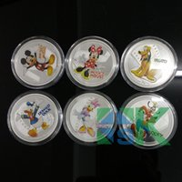 Wholesale Mix Cartoon Animal Mickey Mouse Goofy Gog Donald Duck Silver Plated Souvenir Coins Metal Craft
