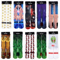 basketball pictures free - free by dhl Skateboard socks colorful thermal knee high socks stocking Harajuku d printed picture socks basketball mens