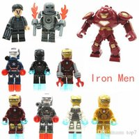 Wholesale 2016 New Iron Man Building Blocks Toys Minifigures toys superhero Iron Man The Avengers small dolls Action Figures Christmas gifts for kids