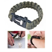 paracord bracelets - 9 quot Survival Paracord Emergency Bracelet Rope with Flint Fire Starter Scraper Whistle Gear Kit for Outdoor Camping Green Black H12526