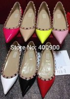 Slip-On ballerina shoes - Women Flats Heel mm Ballerina Shoes Patent Rockstud Leather New Fashion Shoes Designer Shoes Top Quality