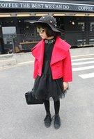 Wholesale 2016 girls winter coats girl dot coat Girls Jackets Woolen cloth Big lapel coat ESY129