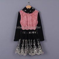 fabric korea - Hot Sale Fall Girl Cotton Fabric Dress Lace Little Girl Vestido Korea Style Warm Girls Clothing Kids Wear GD50112