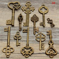 Wholesale 11pcs Assorted Antique Vintage VTG Old Look Skeleton Keys Bronze Steampunk Pendants
