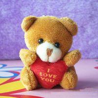 bear amigurumi - Retail pc cm Plush Mini Teddy Bear Care Bear I Love You Pendants Toys Bouqeut jewellery accessory gift Soft Amigurumi Doll