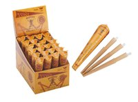Wholesale 144Cones displaybox MM Size Hornet Brown Natural Hemp Rolling Cone Paper Smoking Rolling Papers cones tube tubes displaybox