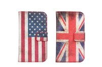 Cheap For Samsung Galaxy S3 mini I8190 Retro USA UK National Flag Style Wallet Stand Leather Case with Credit Card Holder Free DHL Shipping 100pcs